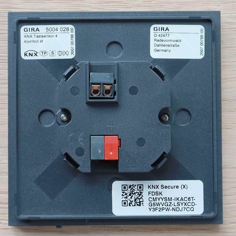 Gira Tastsensor 4 KNX Taster 4fach Komfort hinten
