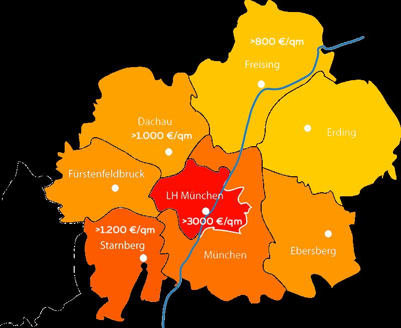 Grundstückspreise Bauland München pro qm im Jahre 2020